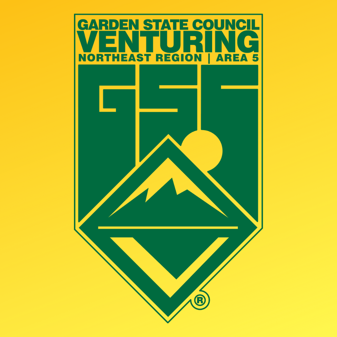 Garden State Council Venturing logo in green on a yellow background